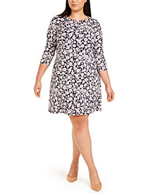 Plus Size Grommet-Detail Floral Dress