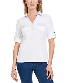 Petite Cotton Contrast-Trim Johnny-Collar Top, Created for Macy's