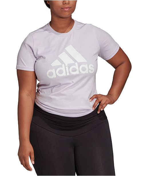 adidas Women's Plus Size Cotton Badge of Sport Logo T-Shirt