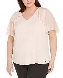 Plus Size Flutter-Sleeve Ruffled Blouse