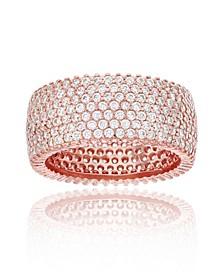 Cubic Zirconia Micropaved Multi Row Eternity Band in 14k Rose or Yellow Gold Plated Plated Sterling Silver