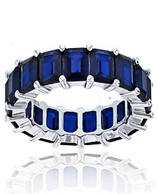 Created Spinel Eternity Band in Rhodium Plated Sterling Silver