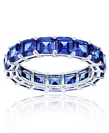 Purple Cubic Zirconia Eternity Band in Rhodium Plated Sterling Silver