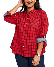 Plus Size Cotton Windowpane Roll-Sleeve Shirt