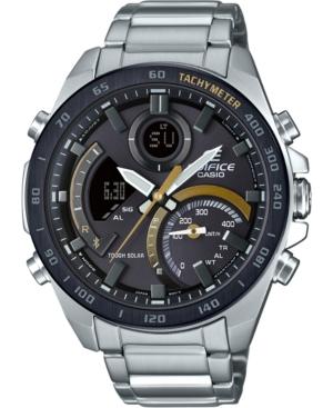 Men's Solar Analog-Digital Edifice Stainless Steel Bracelet Watch 48mm