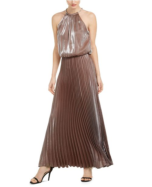 MSK Petite Pleated Metallic Gown
