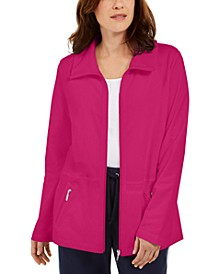 Petite Wing-Collar Zippered Jacket, Created For Macy's