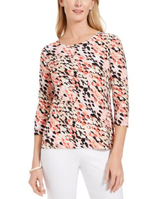 JM Collection Pink Combo Floral Printed Jacquard TOP Large