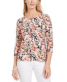Petite Dot-Print Top, Created For Macy's