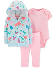 Baby Girls 3-Pc. Floral-Print Hoodie, Striped Bodysuit & Leggings Set