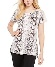 Snake-Print Mesh-Trimmed T-Shirt, Created for Macy's