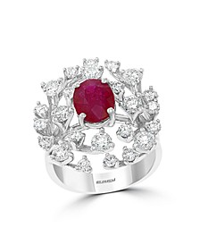 EFFY® Certified Ruby (1-7/8 ct.t.w.) and Diamond (1 7/8 ct.t.w.) Ring in 14K White Gold