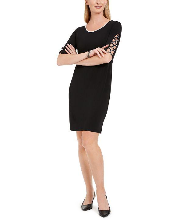 JM Collection Lattice-Sleeve Dress, Created for Macy's