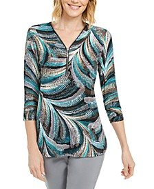 Petite Zip-Neck Printed Top, Created for Macy's