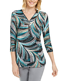 JM Collection Petite Zip-Neck Printed Top, Created for Macy's