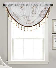 """Bergen Floral Embroidered 47"""" x 37"""" Swag Valance"""
