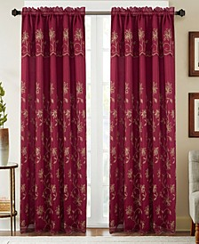 """Durant Floral Embroidered 54"""" x 84"""" Curtain Panel With Attached Valance"""