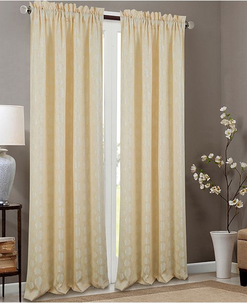 """RT Designers Collection Kayla Floral Textured Jacquard 53"""" x 84"""" Curtain Panel"""