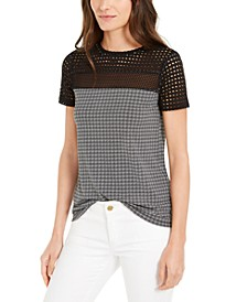 Checked Mesh-Trimmed Top, Regular & Petite