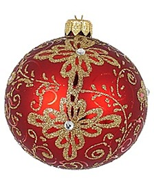 "Pair of Red with Gold Matte European Mouth Blown Hand Decorated 3.25"" Round Holiday Ornaments"