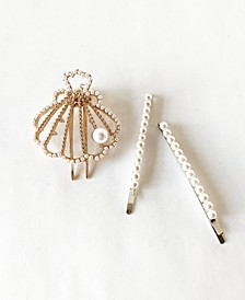 Imitation Pearl Bobby Pins and Seashell Hair Clip Three-Piece Set