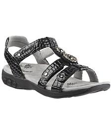 Shoe Charlotte Embossed Jeweled Adjustable Sandal