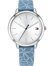 Women's Blue & White Floral Silicone Strap Watch 36mm, Created for Macy's
