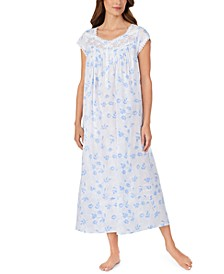 Cotton Venise Lace Floral-Print Ballet Nightgown