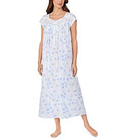 Cotton Venise Lace Floral-Print Ballet Nightgown
