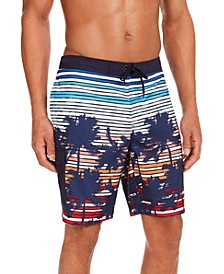 "Men's Sunset Stripe Palm-Print Quick-Dry 9"" Board Shorts, Created for Macy's"