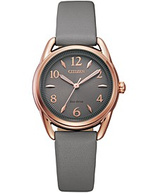 Drive From Eco-Drive Women's Gray Leather Strap Watch 30mm