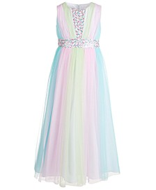 Big Girls Paneled Rainbow Mesh Gown