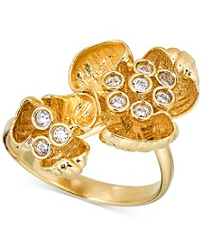 Diamond Flower Statement Ring (1/4 ct. t.w.) in 18k Gold-Plated Sterling Silver