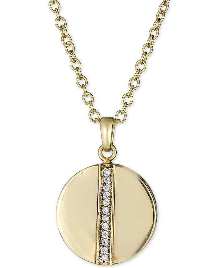 """Macy's - Diamond Circle Pendant Necklace (1/8 ct. t.w.) in 18k Gold-Plated Sterling Silver, 16"""" + 2"""" extender"""