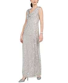 Beaded Cowl-Neck Gown