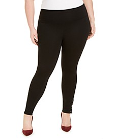 INC Plus Size Ponté-Knit Ankle Grommet Leggings, Created For Macy's