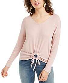 Juniors' Tie-Hem V-Neck Top