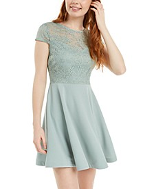 Juniors' Lace-Top A-Line Dress