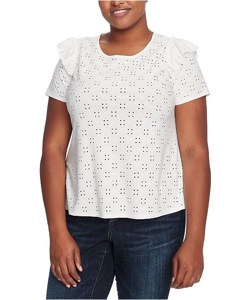 CeCe Plus Size Ruffled Eyelet Top