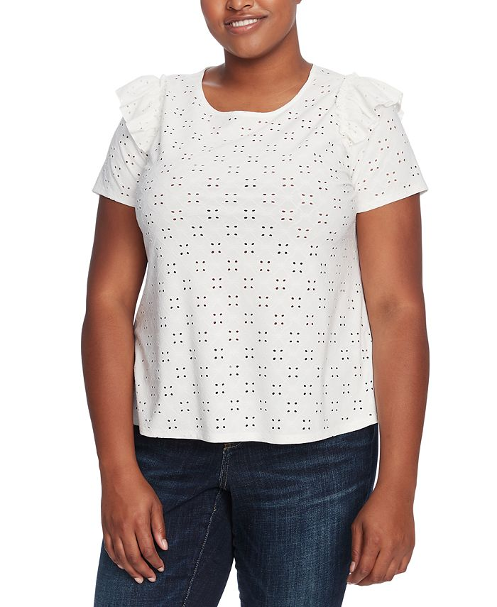 CeCe - Plus Size Ruffled Eyelet Top