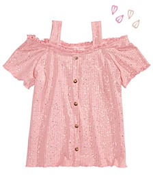 Big Girls 2-Pc. Sparkle Cold-Shoulder Top & Heart Barrettes Set