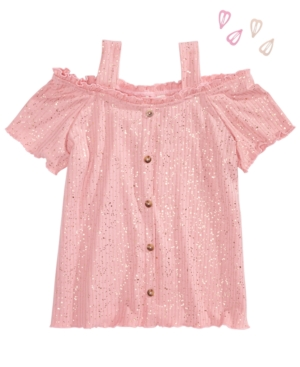 Belle Du Jour Big Girls 2-Pc. Sparkle Cold-Shoulder Top & Heart Barrettes Set