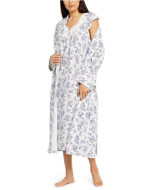 Charter Club Floral-Print Nightgown & Robe, Created For Macy's
