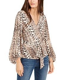 INC Snake-Embossed Faux-Wrap Top, Created For Macy's