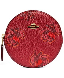 Floral Print Round Coin Case