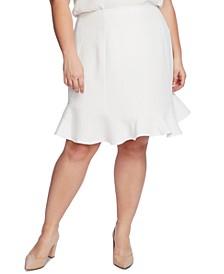 Plus Size A-Line Flounce-Hem Skirt