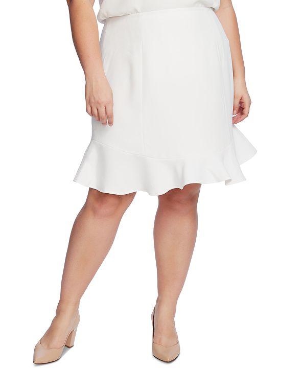 CeCe Plus Size A-Line Flounce-Hem Skirt