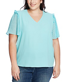 Plus Size Ruffled Dotted-Sleeve Top