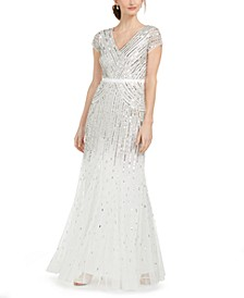 Cap-Sleeve Beaded Sequined Gown