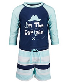 Baby Boys 2-Pc. Captain Rash Guard Set, Created for Macy's